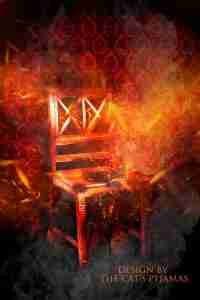 picture of a chair burning in a room